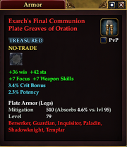 Exarch's Final Communion Plate Greaves of Oration