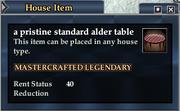 A pristine standard alder table
