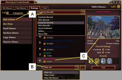 Housing and Leaderboards Tab