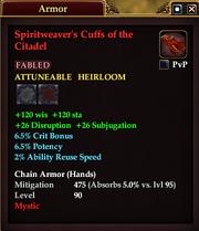 Spiritweaver's Cuffs of the Citadel