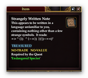 Strangely Written Note