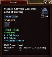 Magus's Glowing Gossamer Cowl of Blasting