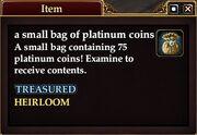 A small bag of platinum coins