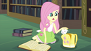 Fluttershy petting Angel in the CHS library EG3