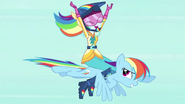 Human Rainbow flying on top of pony Rainbow EG3b
