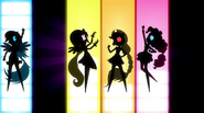 Silhouettes of Rainbow Dash, Fluttershy, Applejack, and Pinkie EG2