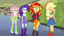 Fluttershy, Rarity, Sunset, and AJ in the hallway EG2