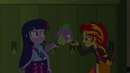 Sunset Shimmer stroking Spike's chin EG