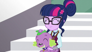 Sci-Twi happily petting Spike EG3