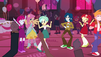 Fluttershy dancing with students EG