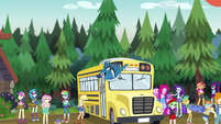Bluebird flying past bus EG4