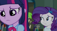 Twilight and Rarity walking past booing students EG2
