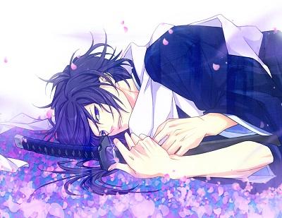 File:Konachan-com-73713-hakuouki shinsengumi kitan-japanese clothes-katana-kimono-petals-purple eyes-purple hair-saitou hajime-sword-weapon.png
