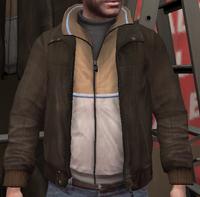 Chupa cuero y chaqueta chándal crema GTA IV