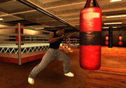 Carl Johnson usando un saco de boxeo.jpg