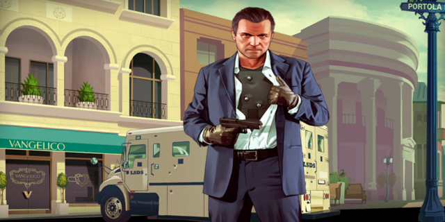 Archivo:GTA V Artwork - Michael frente a Vangelico.png