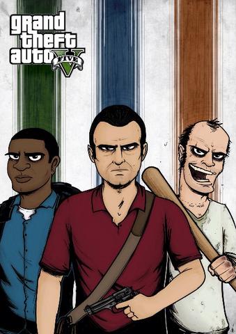 Archivo:Grand Theft Auto V Fan Art - Ilustración de los tres protagonistas.png