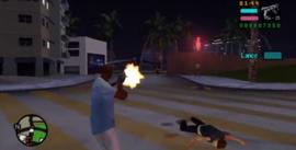 Victor disparando durante la mision Blitzkrieg