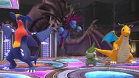 Garchomp, Hydreigon, Axew y Dragonite SSB4 Wii U.png