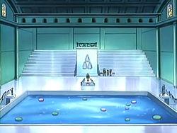 Campo de batalla del Gimnasio de Arrecípolis en el anime