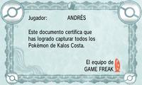 Certificado Pokédex Kalos Costa XY