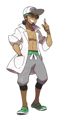 "Kukui en <a href=""/wiki/Pok%C3%A9mon_Sol_y_Pok%C3%A9mon_Luna"" title=""Pokémon Sol y Pokémon Luna"">Pokémon Sol y Pokémon Luna</a>"