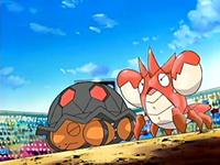 EP404 Torkoal y Corphish de Ash usando defensa férrea.png