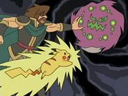 EP525 El Pikachu del guardián atacando a Spiritomb en la leyenda