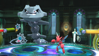Klinklang, Steelix, Scizor y Honedge SSB4 Wii U.png