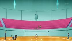 Campo de batalla del Gimnasio de Marina en el anime