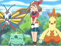 Archivo:EP366 May, Combusken, Beautifly y Bulbasaur.png