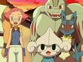 Brega junto a sus Pokémon.