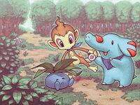 Ilustración de Chimchar y Phanpy en MM
