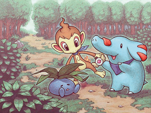 Archivo:Ilustración de Chimchar y Phanpy en MM.jpg