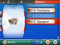 Pokédex con la entrada de Zigzagoon ROZA