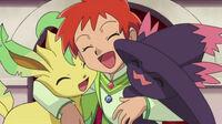 EP645 Leafeon y Mismagius junto a Zoe, tras ganar a Nando