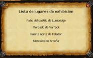 Lista de lugares de exhibición