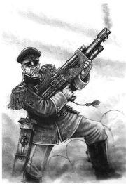 Guardia imperial soldado mordia rifle laser