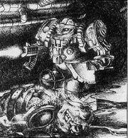 Guardia del Hogar exoarmadura Squats 1ª Edición Paul Bonner ilustración.jpg
