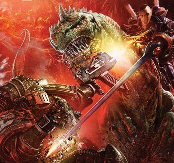 Legionario Salamandras vs. Guerrero Dragón Exodita Eldar.jpg