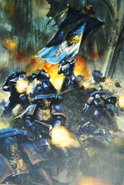 Escuadra Mando Marines Espaciales Ultramarines Galatan Warhammer 40k Wikihammer.png