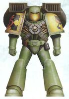 Guerreros Mantis Hermano Damaskan Servoarmadura Mark VI Corvus Asalto Marines Espaciales Astartes Wikihammer