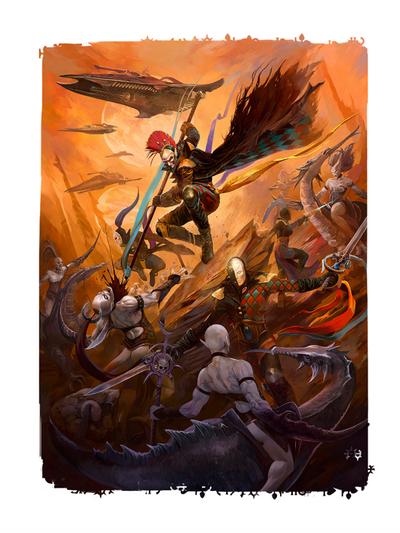 Eldar arlequines vs demonios slaanesh.png