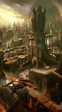 Acercamiento a Astropuerto Imperial Ciudad Colmena Wikihammer