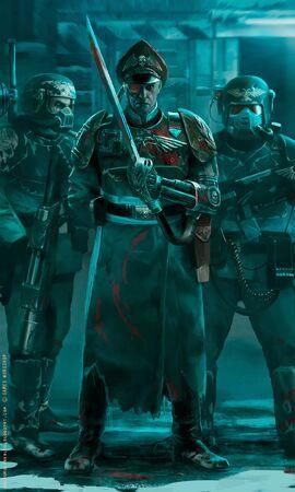 Comisarios y Veteranos Cadianos desplegados contra ¡Waaagh! Rojo.jpg