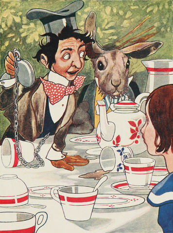File:Alice's Adventures in Wonderland - Carroll, Robinson - S119 - 'What day of the month is it' he said, turning to Alice.jpg