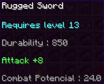 Rugged Sword Stats
