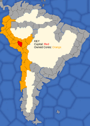 """Map showing  Inca Empire's starting position in 1492"""