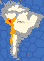 """Map showing  Inca Empire's starting position in 1419"""