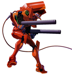 Unit 02 equipped with cannons